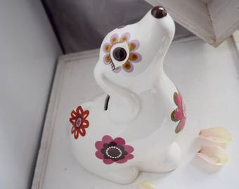 Kitsch Retro floral Dog Money Box 60s style
