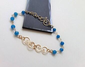 14K Gold Filled Bridal Bracelet, Dainty Bracelet, Gemstone Bracelet, Wedding Jewelry, Prom Jewelry. Gift For Her.