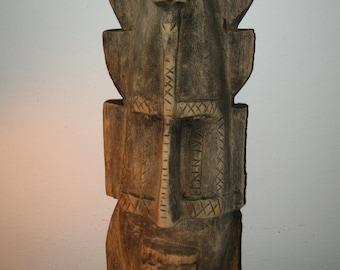 Primitive Stunning Hawaii Tiki Style Vintage Wooden Tribal Hanging Mask! #EH