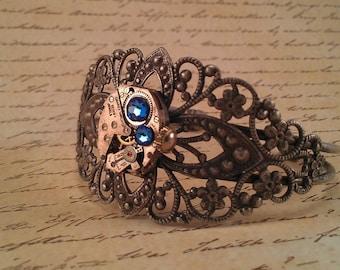 Handmade Steampunk Antique Silver/Pewter Bracelet Cuff With Vintage Laurey Watch Co 7 Jewels Movement Blue Swarovski Crystals!