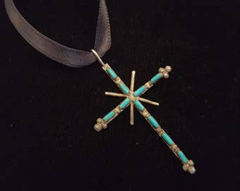 Vintage Silver and Turquoise Cross