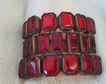 Vintage Red Rhinestone Clip