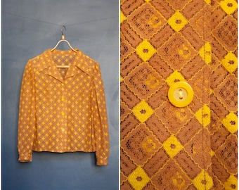 70s Lace Blouse Semi Sheer Womens Blouse Brown Yellow Checkered Blouse Medium Long Sleeve Lace Button Down Top See Through Collared Top M