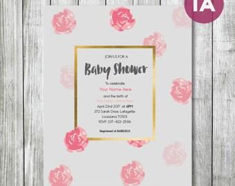 baby shower DIGITAL invite (girl or boy design) , customizable