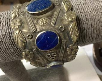 Vintage Hand Made tribal Bedouin silver Bracelet  Natural Lapis Stone