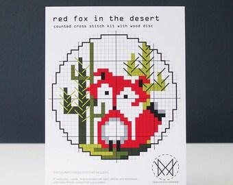 Red Fox in the Desert - Easy Cross Stitch Kit - Wood Disk Cross Stitch Kit