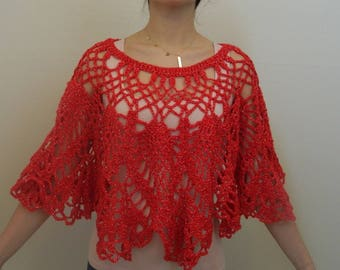 Red Bolero, Crochet Bolero, Red Crochet Bolero,  Crochet Capelet, Red Capelet, ND0059