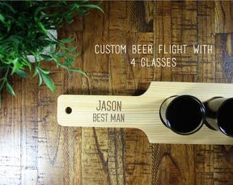 Personalized Beer Flight, Groomsmen Beer Flight, Groomsman Gift, 4 beer flight, engraved beer flight, custom beer flight unique gift