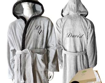 Personalized Monogram and Name Unisex Hooded Cotton Terry  Grey Bathrobe