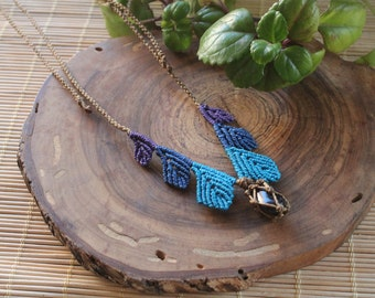Macrame necklace with leaves with agate purple stone.