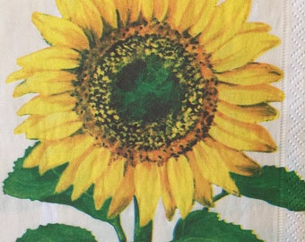 Paper Napkins For decoupage Sunflower Napkins Set 2