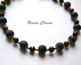 Tiger Eye & Blue Polymer Necklace with Gold Accents, Semi Precious Stones