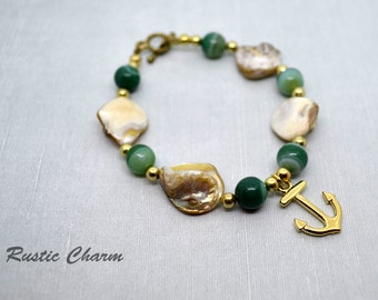 Round Shell, Agate and Anchor Bracelet