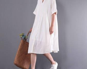 Women white shirt dress linen tunic leisure dress pleated dress summer dress cotton shirt plus size clothing