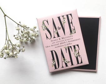 Wedding Save the Date Magnet - Anemones and Rose Pink