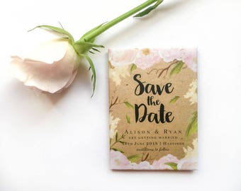 Save the Date Wedding Magnet - Spring Blush Florals and Kraft
