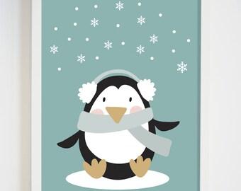 Penguin Nursery Wall Art - Gender Neutral Decor - Penguin Wall Art - Animal Illustration for Bedroom