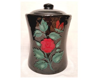 McCoy Cookie Jar, Concave Black Rose, Vintage and Rare, Traditional Classic, Retro Glamour Kitchen, FREE Shipping