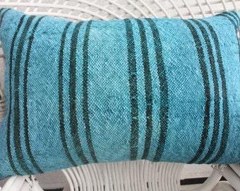 16x24 Turkish Kilim Pillow Lumbar Pillow Overdyed Kilim Pillow Striped Kilim Pillow Blue Overdyed Kilim Pillow Cushion Cover 295