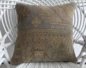 carpet ottoman 40 x 40 cm ancient carpet pillow turkish rug pillow carpet plaid pillow cover 16x16 kilim turkish cushion cover 1711