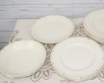 Art Deco Burleigh Athlone Cream and Gold Part Dinner Service: Dinner Plates, Salad Plates, Soup Bowls, etc.