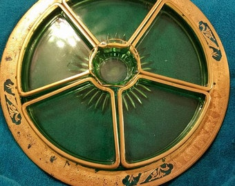 Vintage Green and gold 7 piese relish tray set