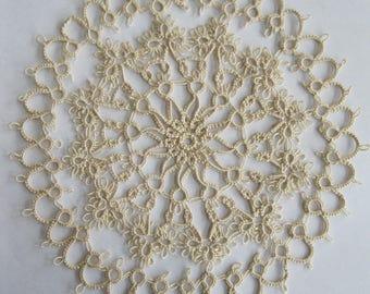 Handmade Tan/Ecru Tatted Lace Doily