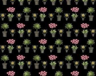 Salon Fleur - Per Yd - Studio e - Paris in Spring!!  Pots on Black