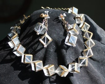 Glass Cubes Necklace & Earring Set