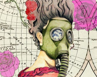 Marie Antoinette print - Gas Mask, Louis XVI, Map, Pink, Roses, Flowers, Queen, Palace of Versailles, France, Dress, shoes, Cake,