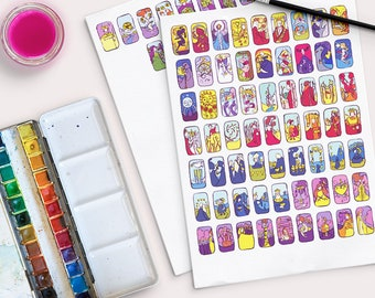 Vivid Journey Tarot Stickers - for journaling - DIGITAL DOWNLOAD