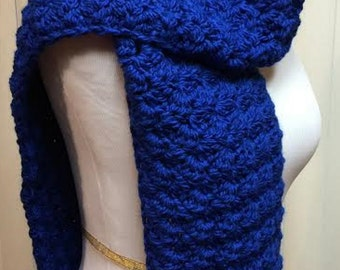 Royal Blue Crochet Scarf, Chunky Wide Crochet Scarf, Royal Blue Crochet Scarf, Blue Crochet Scarf, Blue Open End  Scarf, Blue Winter Scarf
