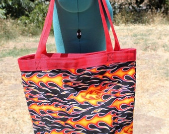 Hot Rod Flames Tote Bag, use for Grocery, Shopping,  Lunch, books, shopping, diapers, or overnight bag - Canvas lined for heavy daily use