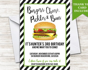 Cheeseburger Invitation Birthday Invite Picnic Burgers 5x7 Digital Personalized Kids Adults