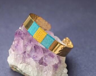 Cuff Bracelet NOVA - weaving in cotton duck blue