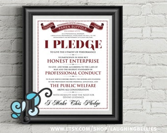 Engineer's Oath - Code of Ethics - Engineer's Creed - Graduation Gift - Typography Poster - Personalized