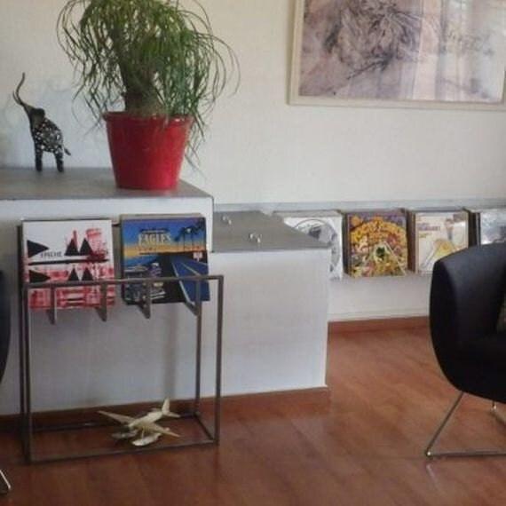 meuble sp cial rangement 300 disques vinyles en acier brut. Black Bedroom Furniture Sets. Home Design Ideas