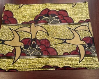 4 Cotton Placemats (New)-Gold/Black/Red with Birds