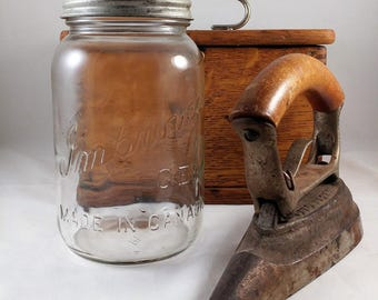 Vintage Mason Jar, Improved Gem 1 Qt Antique Mason Jar, Zinc Lid 1940s Canada