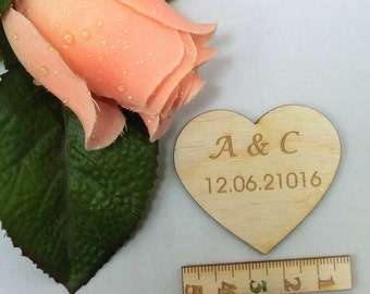 Wooden heart engraved 5 cm wide wedding heart personalized