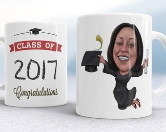 Graduation Gift For Him, Graduation Caricature Mug, Personalized Graduation, Graduation Mug, College Gift, Graduation Gift for her