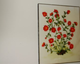Four flower paintings and one canvas 3 D