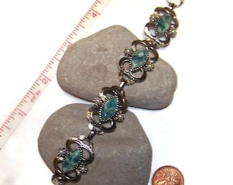 Vintage Sarah Coventry link Bracelet, Green stone with Faux pearls, Bracelets, Link Bracelet, Gift for her