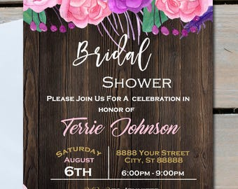 Bridal Shower Invitations,Purple Pink Flowers,Watercolor, Wood Texture, Any Occasion  5x7 ,Printed or Digital File ***FREE SHIPPING
