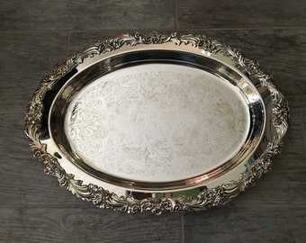 """1950s VERY hard-to-find older Reed & Barton Burgundy 16"""" Silver-plate Hollowware Oval Serving Tray"""