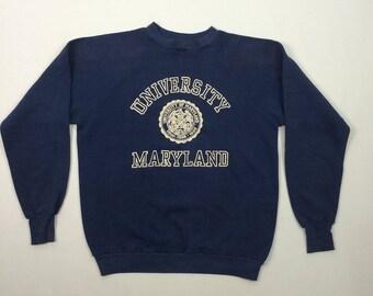 University of Maryland Raglan Sweatshirt Vintage Blue L Made in USA 80's