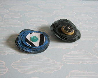 Black and blue  fabric flower hair piece with alligator clip