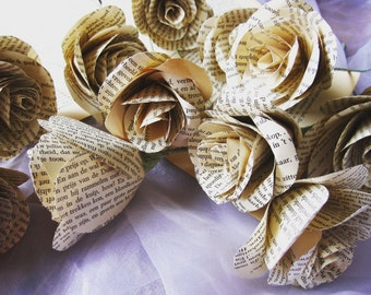 Vintage PAPER FLOWERS, rustic origami paper, origami roses, book pages