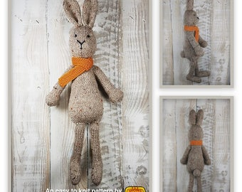 Knitted toy knitting pattern for Arthur Rabbit bunny, PDF download