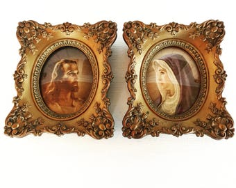 Pair of Jesus and Virgin Mary Cameo Creation Wall Art